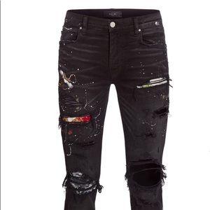fe6da09dc25 Amiri Black Stack Yellow Stripe Skinny Jeans. $800 $850. Mike Amiri